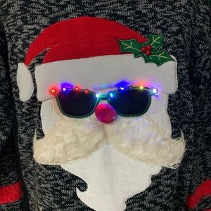 HOOKED UP Santa with Light-Up Sunglasses Sweater